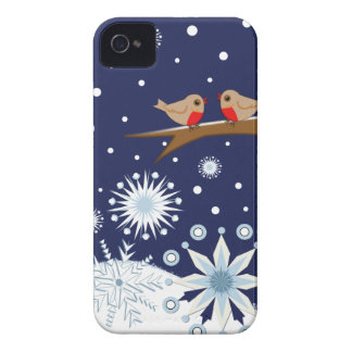 Decorative snowflakes & robins Blackberry bold Case-Mate iPhone 4 Cases