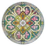 Decorative Stained Glass Flower Nouveau Party Plates