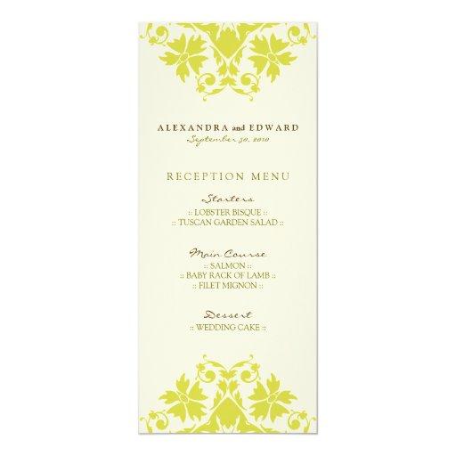 Decorative Stamp Wedding Reception Menu Citrus Custom Invitation