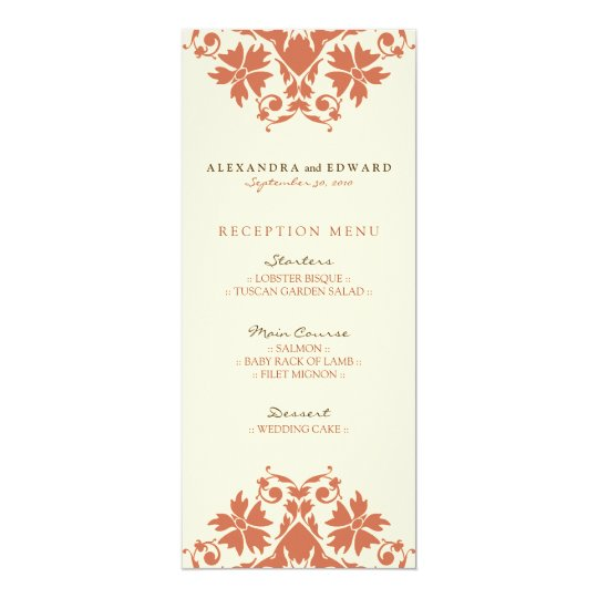Decorative Stamp Wedding Reception Menu (coral) Card