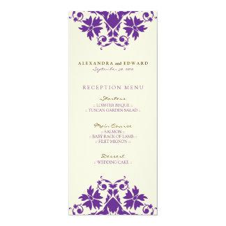 Decorative Stamp Wedding Reception Menu (purple) 4x9.25 Paper Invitation Card