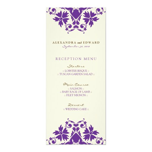 Decorative Stamp Wedding Reception Menu Purple 4x925 Paper Invitation Card