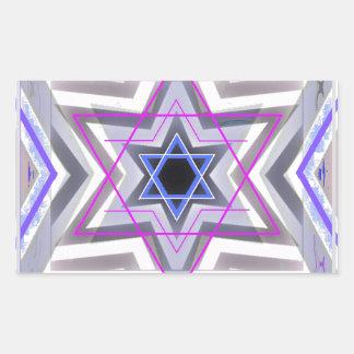 Decorative Star of David Rectangle Sticker