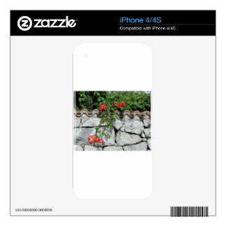 Decorative stone wall with colorful flowers skins for the iPhone 4