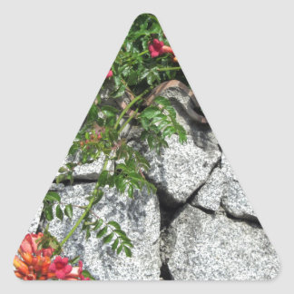 Decorative stone wall with colorful flowers triangle sticker