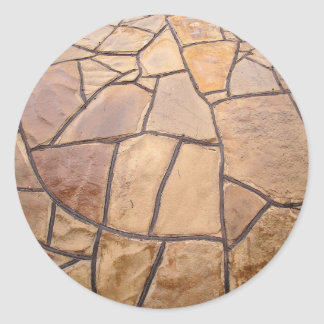 Decorative stone wall with wide angle fisheye view classic round sticker
