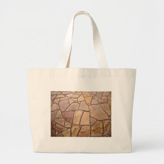 Decorative stone wall with wide angle fisheye view large tote bag
