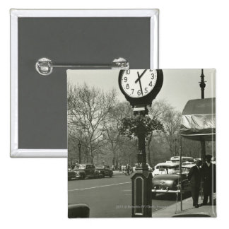 Decorative street clock two background people button