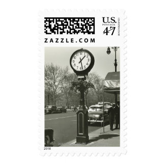 Decorative street clock two background people postage