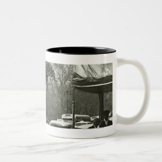 Decorative street clock two background people Two-Tone coffee mug