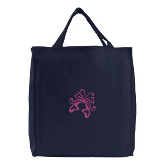 Decorative Stylized Butterfly Embroidery Design Canvas Bag