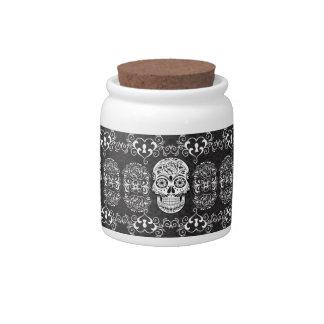 Decorative Sugar Skull Black White Gothic Grunge Candy Dish