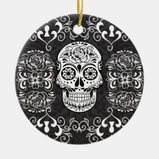 Decorative Sugar Skull Black White Gothic Grunge Ceramic Ornament