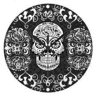 Decorative Sugar Skull Black White Gothic Grunge Clocks