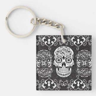 Decorative Sugar Skull Black White Gothic Grunge Keychain