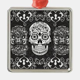 Decorative Sugar Skull Black White Gothic Grunge Metal Ornament