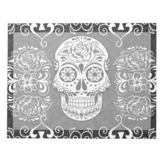 Decorative Sugar Skull Black White Gothic Grunge Memo Notepads