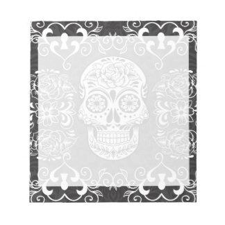 Decorative Sugar Skull Black White Gothic Grunge Note Pads