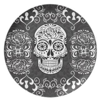 Decorative Sugar Skull Black White Gothic Grunge Plates