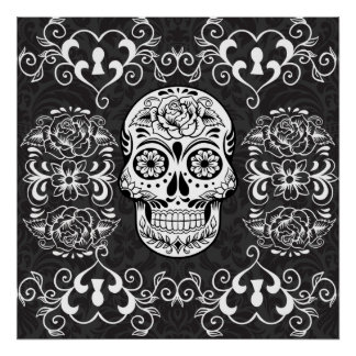 Decorative Sugar Skull Black White Gothic Grunge Poster
