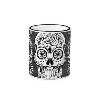 Decorative Sugar Skull Black White Gothic Grunge Ringer Mug