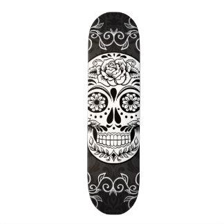 Decorative Sugar Skull Black White Gothic Grunge Skateboard