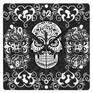 Decorative Sugar Skull Black White Gothic Grunge Square Wall Clock