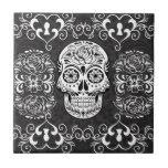 Decorative Sugar Skull Black White Gothic Grunge Small Square Tile
