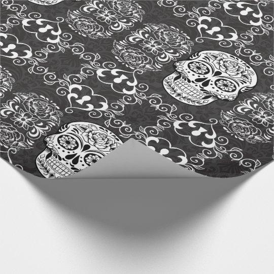 Decorative sugar skull black white gothic grunge wrapping