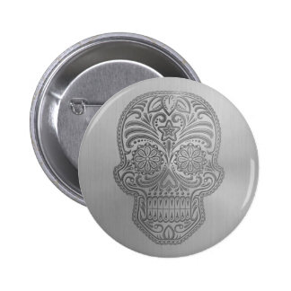 Decorative Sugar Skull with a Stainless Steel Look Button