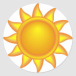 decorative sun. classic round sticker