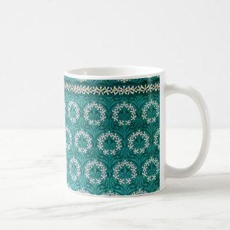 Decorative Teal Flower Textile Coffee Mug