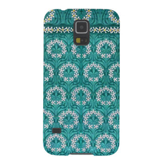 Decorative Teal Flower Textile Galaxy S5 Case