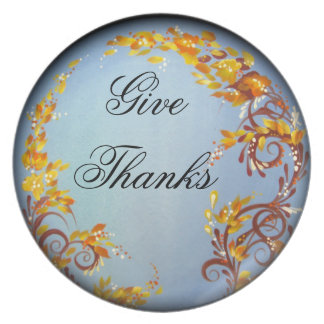 Decorative Thanksgiving Plate, U0026quot;Give Thanksu0026quot; Melamine Plate