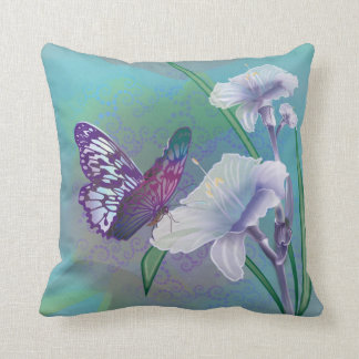 Decorative Throw Pillow with Lilies and Butterfly