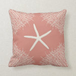 Decorative throw pillow with seastar and coral