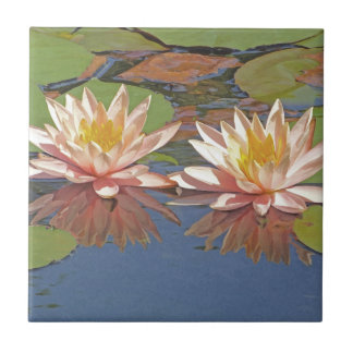 DECORATIVE TILE/ TWO PALE PEACHY-PINK WATER LILIES TILE