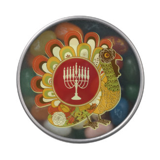 Decorative Turkey Menorah Jelly Belly Candy Tin