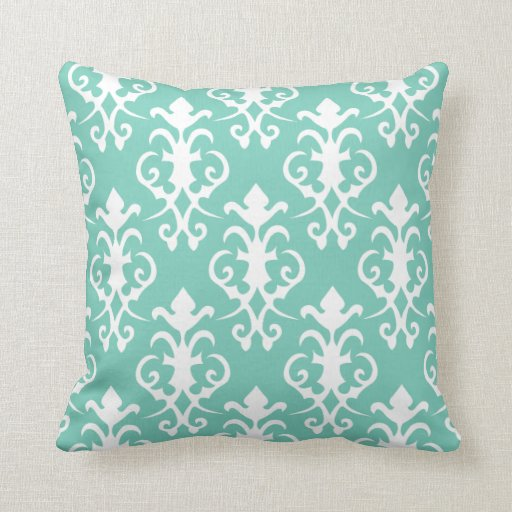 Decorative turquoise damask pillow zazzle for Turquoise couch pillows