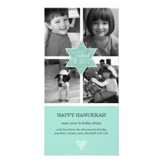 Decorative Typography Aqua Star of David Hanukkah Card