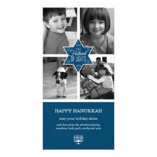 Decorative Typography Blue Star Hanukkah Card