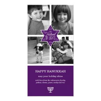 Decorative Typography Purple Star Hanukkah Photo Greeting Card