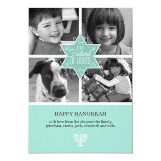 "Decorative Typography Star of David Hanukkah Card 5"" X 7"" Invitation Card"