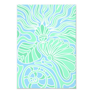 "Decorative Underwater Themed Design. 3.5"" X 5"" Invitation Card"