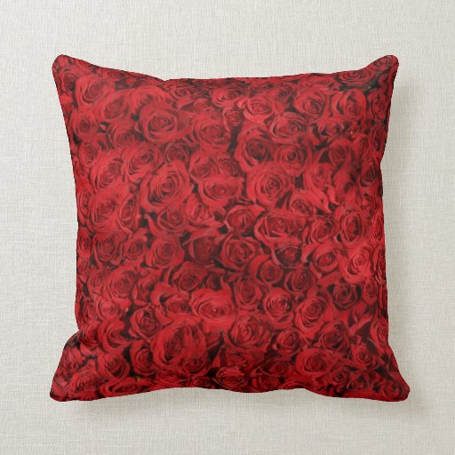 Decorative Vintage Red Rose Floral Throw Pillow Zazzle