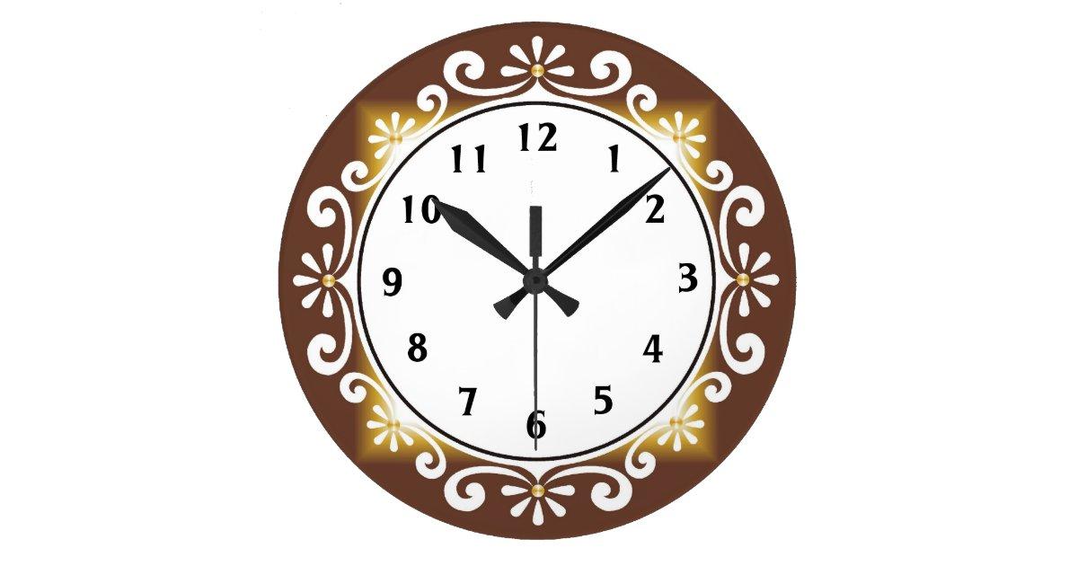 Decorative Wall Clock Model : Decorative wall clock brown frame large zazzle