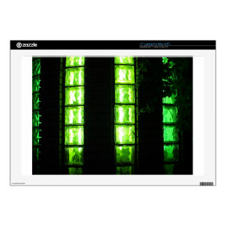 """Decorative wall with green lights at night decal for 17"""" laptop"""