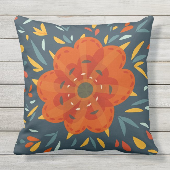 Decorative Whimsical Orange Flower Outdoor Pillow