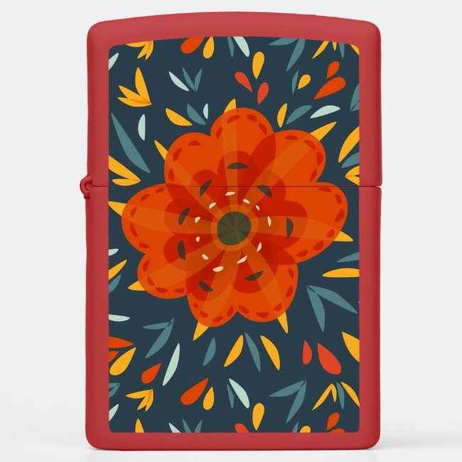 Zippo lighter with a decorative illustration of a beautiful orange flower.