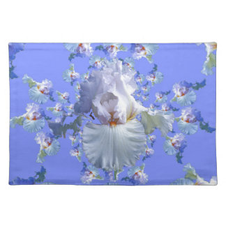 DECORATIVE  WHITE & BLUE IRIS gifts Cloth Placemat